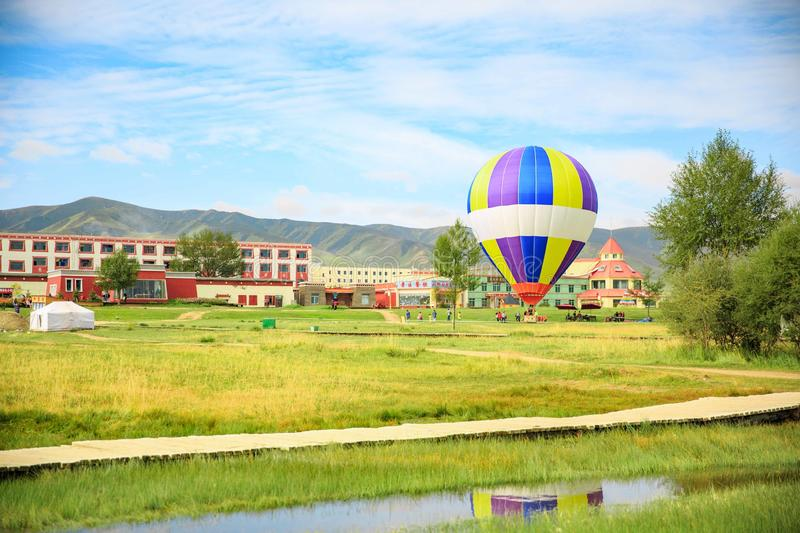 Hot air ballon in Qinghai province, China stock image
