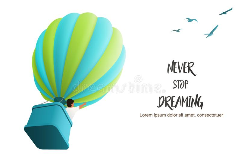 Hot air Ballon in the sky with boy in the basket directing upward following birds, vector illustration for motivating royalty free illustration