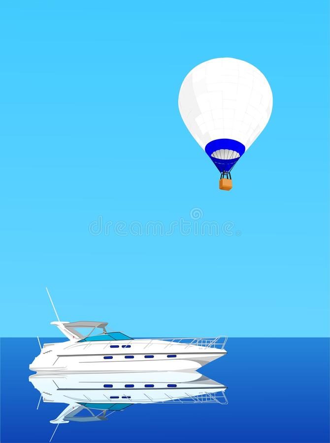 Hot Air Ballon And Yacht Royalty Free Stock Images