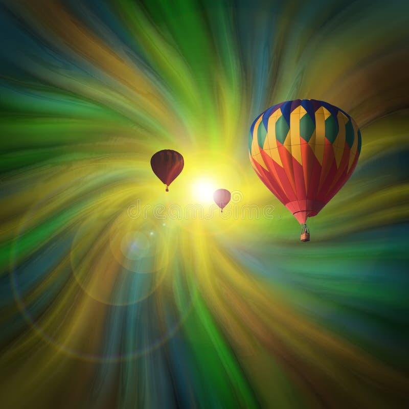 Hot-Air ballonger som flyger i en virvel royaltyfri illustrationer