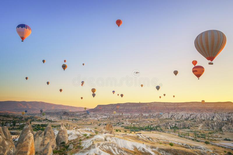 Hot Air Ballons - Goreme, Turkey stock images