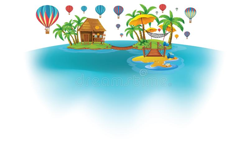 Hot air ballons from island royalty free illustration