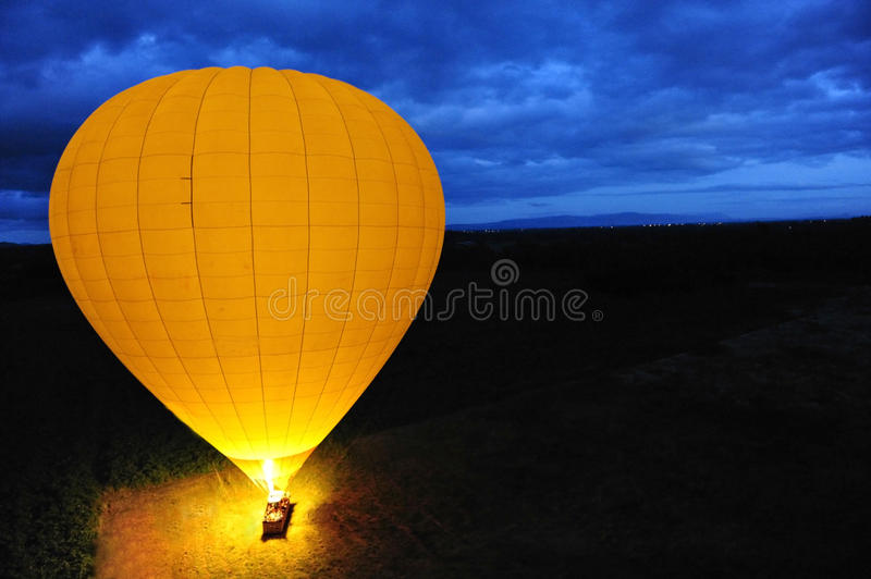 Hot air Balloon. From above in early morning light stock images