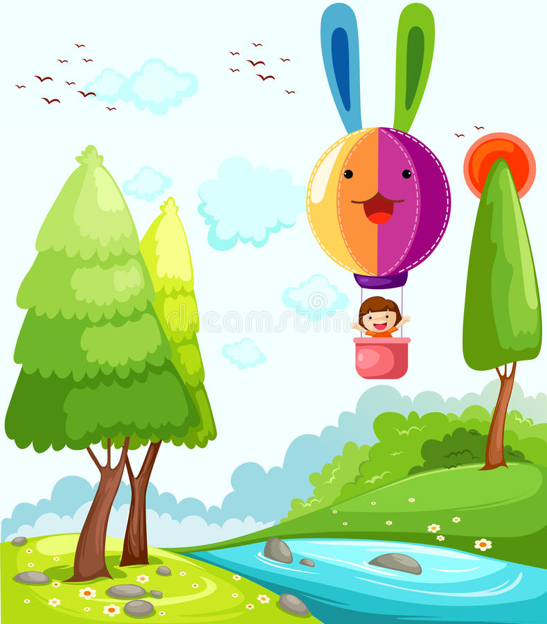 Download Hot air balloon stock vector. Image of birds, flying - 16820715