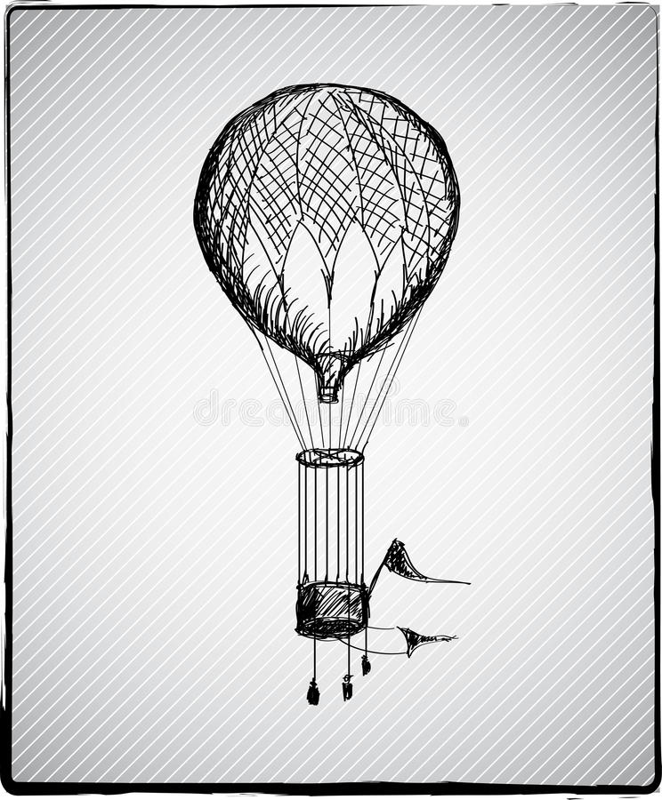 Download Hot air balloon stock vector. Illustration of drawing - 26633406