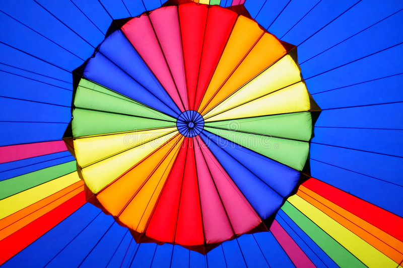Hot air balloon. Inside of colourful hot air balloon royalty free stock image