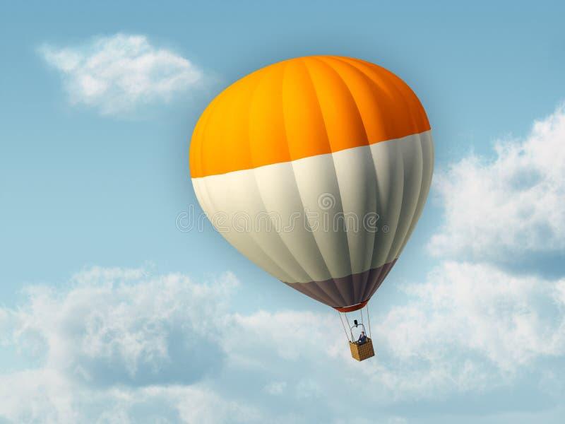 Hot air balloon. Businessman flying in an hot air balloon. Digital illustration stock illustration