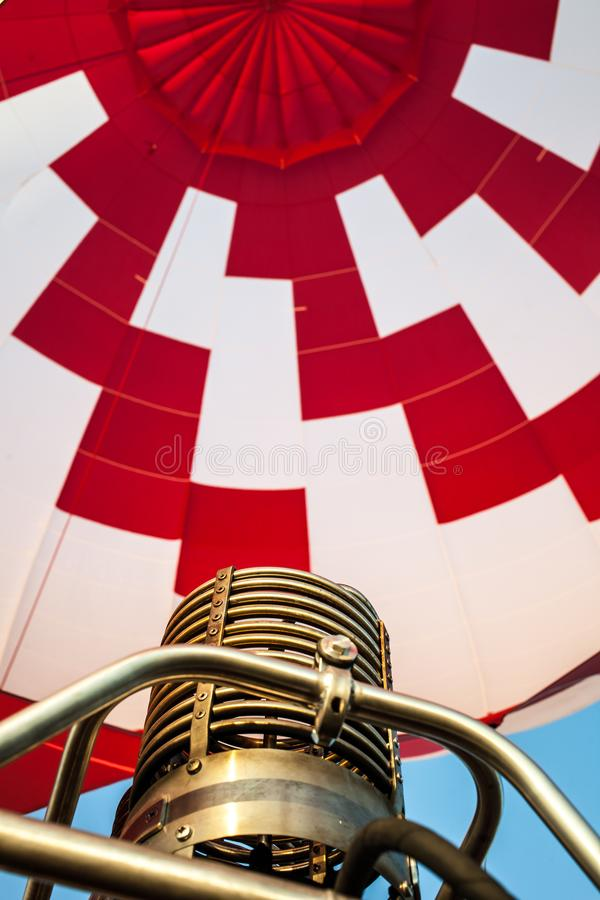 Hot air balloon or aerostat, not fire flame from gas burner equipment. Close up from inside stock images