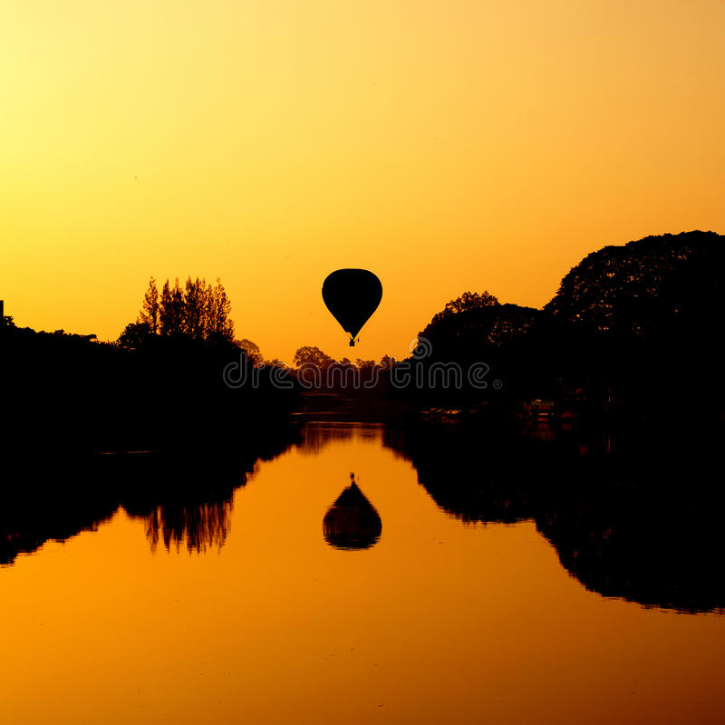 Free Hot Air Balloon At Sunrise On The River Stock Image - 34003741