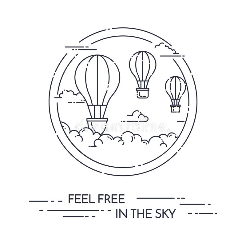 Hot Air Balloon In The Sky With Clouds Isolated On White Background Flat Line Art Vector Illustration Concept For Travel Agency Motivation