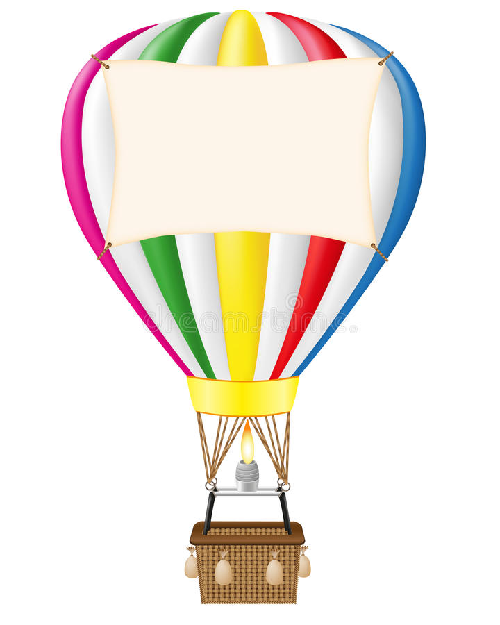 Download Hot Air Balloon And Blank Banner Stock Vector - Illustration: 23657774