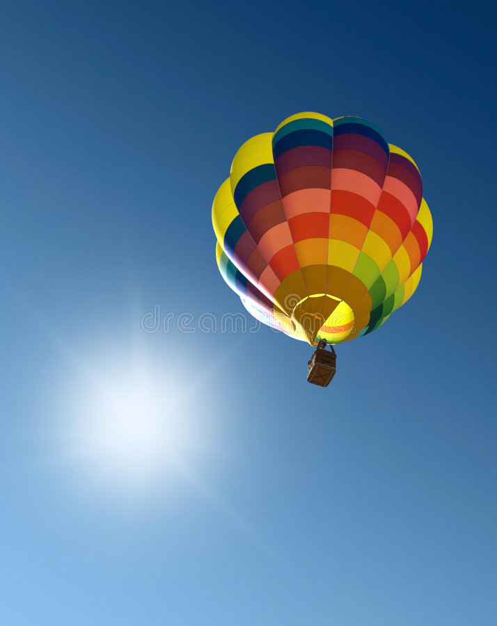 Hot air balloon in the blue sky. In Spain, in vertical format royalty free stock photos