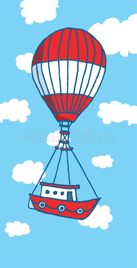 Download Hot Air Balloon Boat Flying To Adventure Stock Vector - Illustration of flying, traveling: 39511331