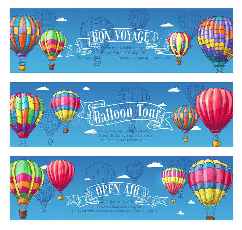 Vector banners for hot air balloon travel voyage. Hot air balloon Bon Voyage or open air festival banners set. Vector design of cloudhopper in zigzag, checkered stock illustration