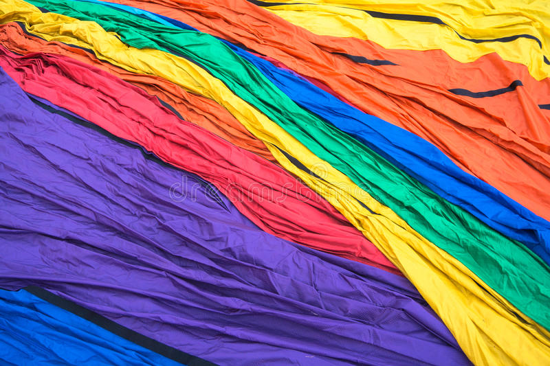 Hot air balloon brightly colored nylon material stock images