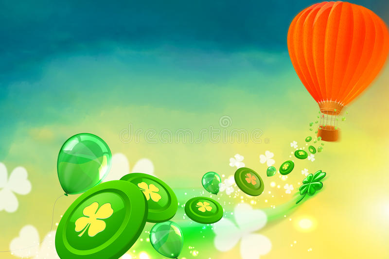 Hot air balloon with casino chips, clovers and baloons flying from royalty free illustration