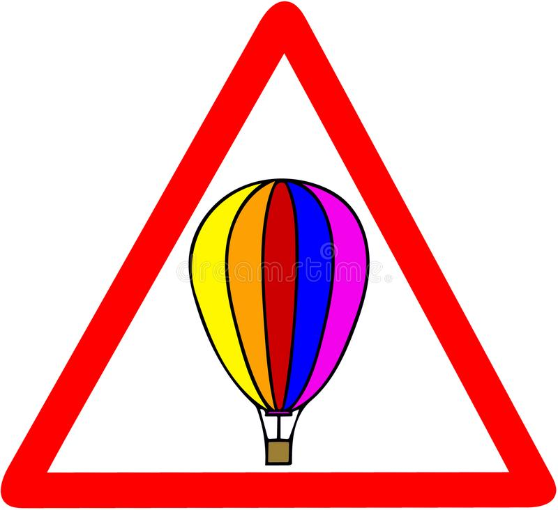 Hot air balloon caution red triangular road warning sign isolated on white background vector illustration