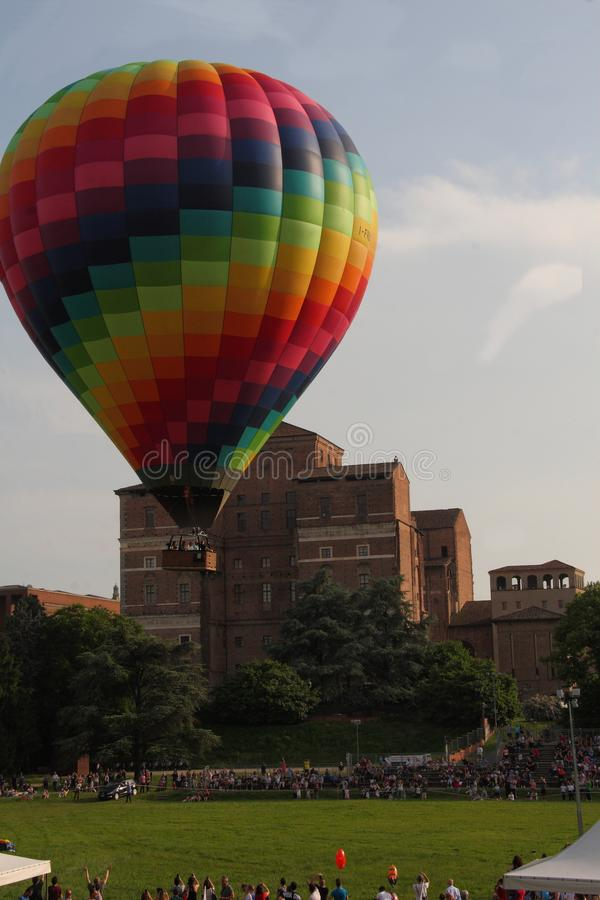 Hot air balloon in the city - Piacenza - Italy - 26/27 May 2018. Present 30 food trucks, craft beers with covered area, markets, workshops and games for royalty free stock images