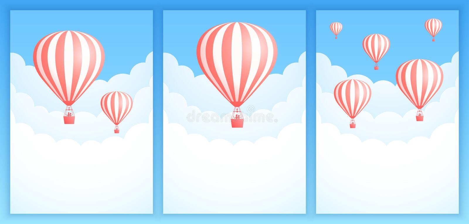 Hot air balloon cloud travel invitation banner. Hot air balloon cloud travel vector illustration. Set of sky art promotion banner templates with colorful striped stock illustration