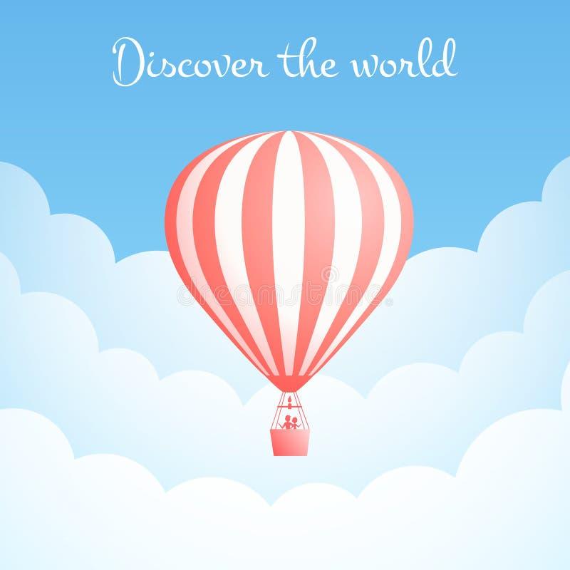 Hot air balloon cloud travel motivation banner. Hot air balloon cloud travel vector illustration. Carnival entertainment social media banner or romantic stock illustration