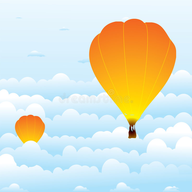 Hot Air Balloon In Clouds Royalty Free Stock Images
