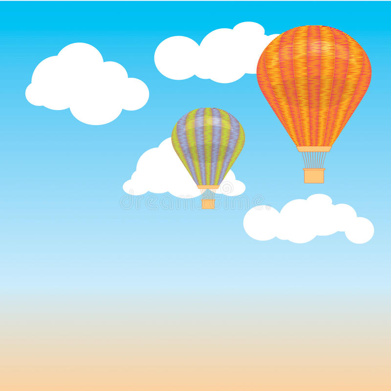 Hot air balloon and clouds in the sky. Vector illustration. Background. postcard vector illustration