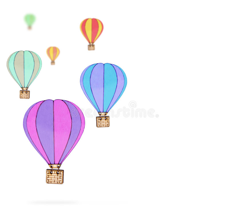 Hot air balloon collections on a white background royalty free stock images