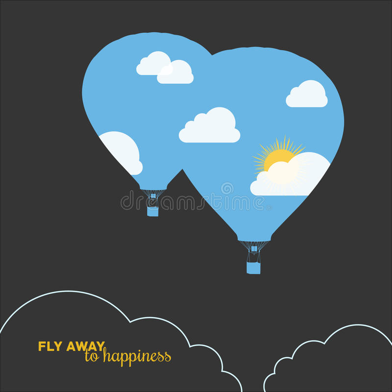 Hot air balloon, colorful abstract vector stock illustration