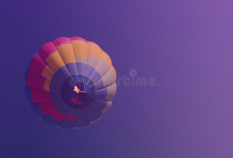 Hot air balloon colorful in blue purple sky blurred background royalty free stock photos