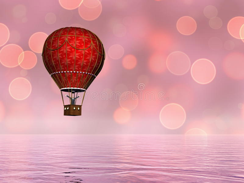 Hot air balloon - 3D render stock illustration