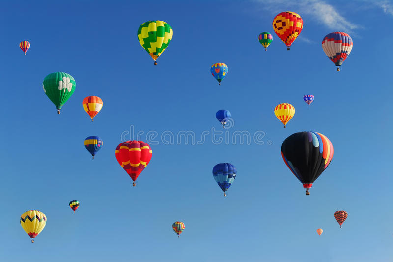 Hot Air Balloon Festival. Colorful hot air balloons in the sky at a balloon festival stock images