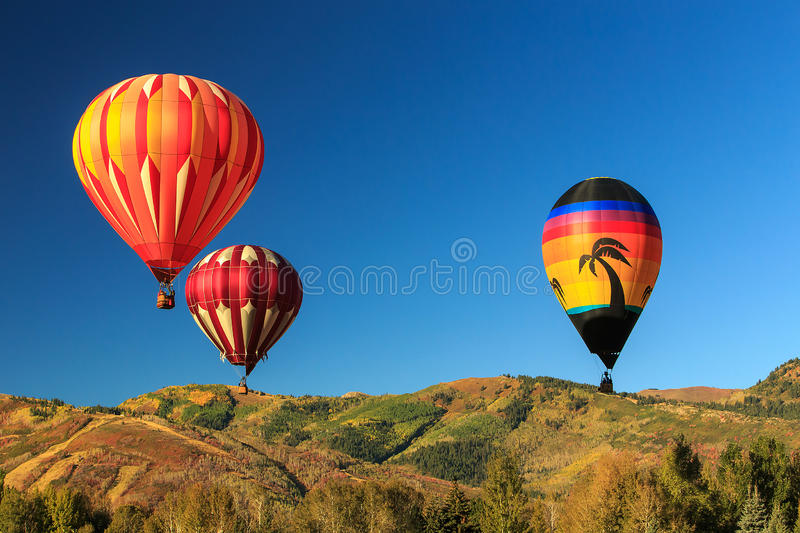 Hot air balloon festival. With blue sky above Park City, Utah, USA stock image