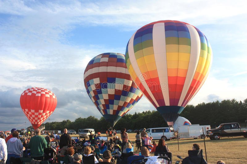 Hot Air Balloon Festival, Waterford, WI July 15, 2016. Hot air balloons at the annual Hot Air Balloon Festival in Waterford, WI in the summer of 2016 stock photos