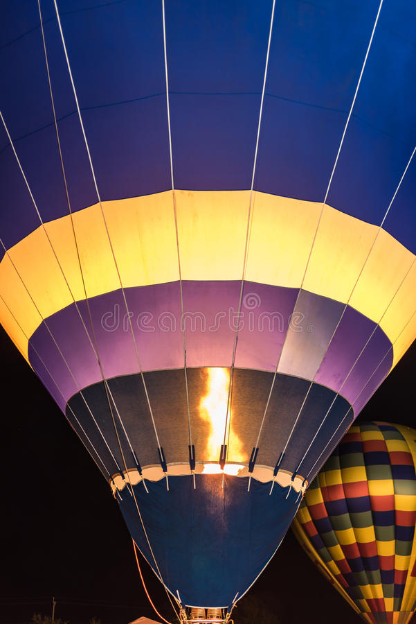 Hot Air Balloon Firing. To Keep the air hot and the balloon upright stock photos