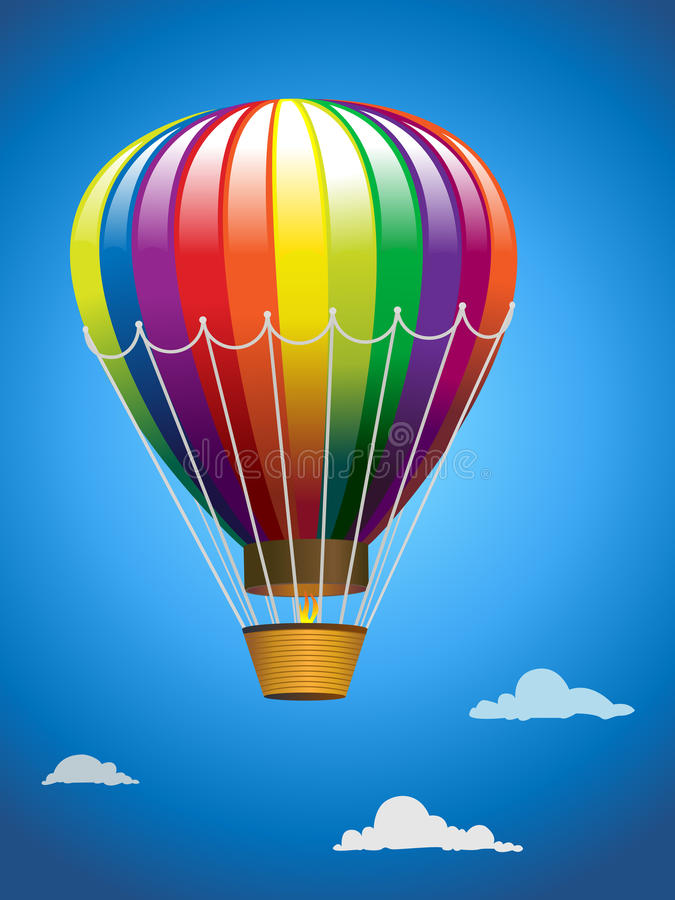 A hot air balloon in flight. A colorful hot air balloon taking flight in a bright blue sky among the clouds royalty free illustration