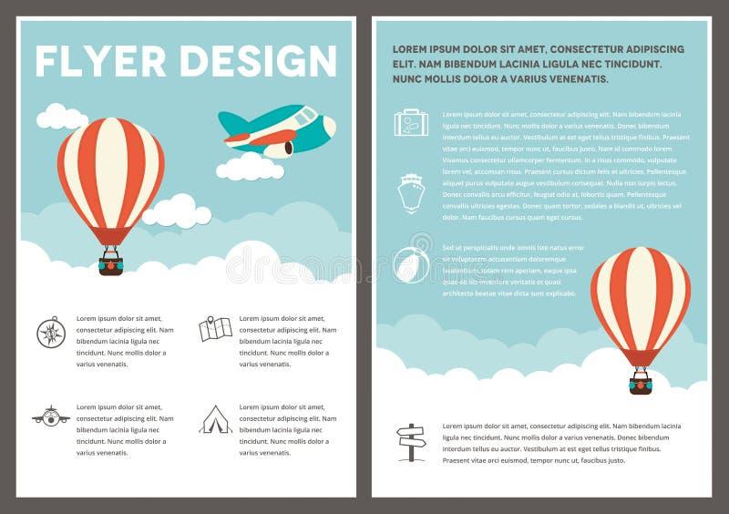 Hot Air Balloon Flyer Template Design Stock Vector Illustration Of