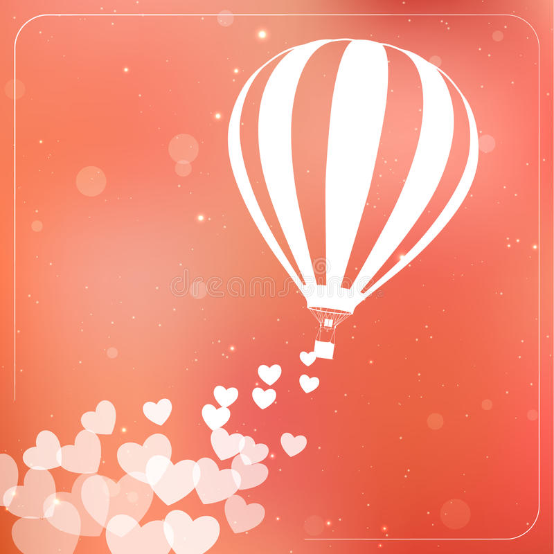 Hot air balloon with flying hearts. Romantic vector illustration