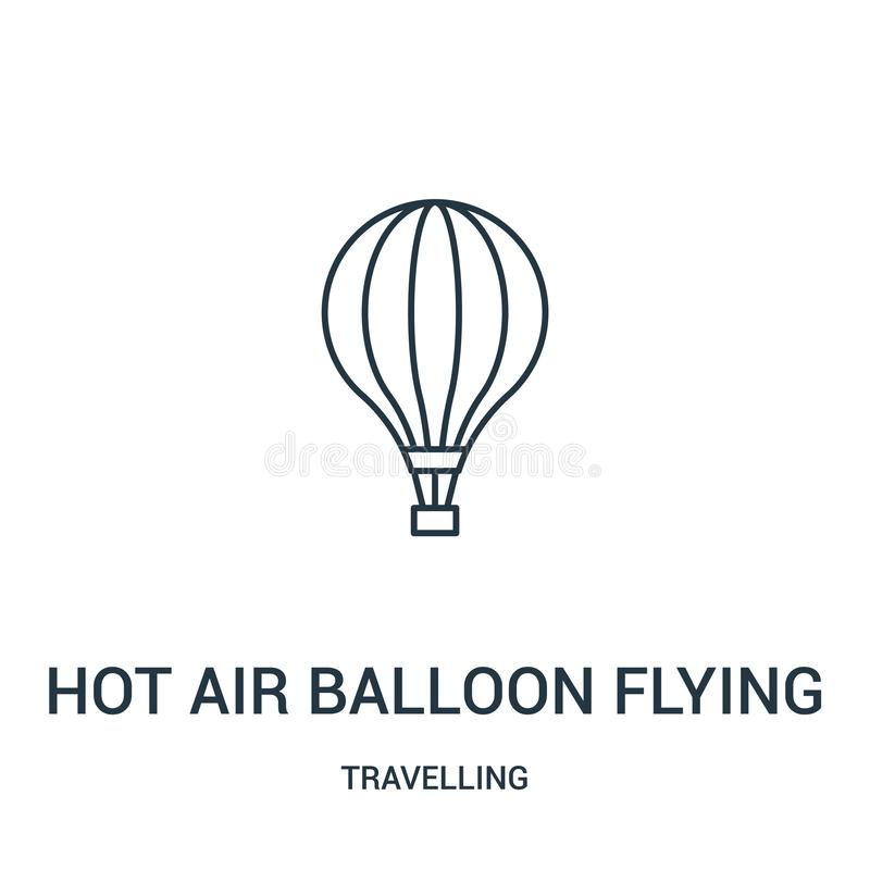 hot air balloon flying icon vector from travelling collection. Thin line hot air balloon flying outline icon vector illustration. stock illustration