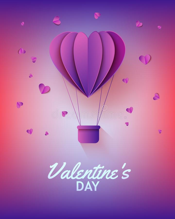Hot air balloon in form of heart in paper art on gradient background for Valentines Day greeting card. stock illustration