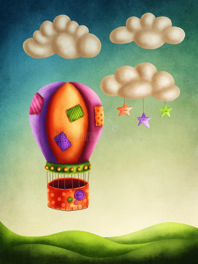 Hot air balloon. High in the sky stock illustration