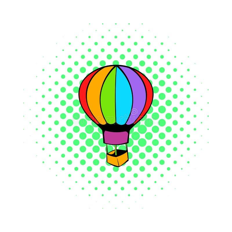 Hot air balloon icon, comics style. Hot air balloon icon in comics style on white background vector illustration