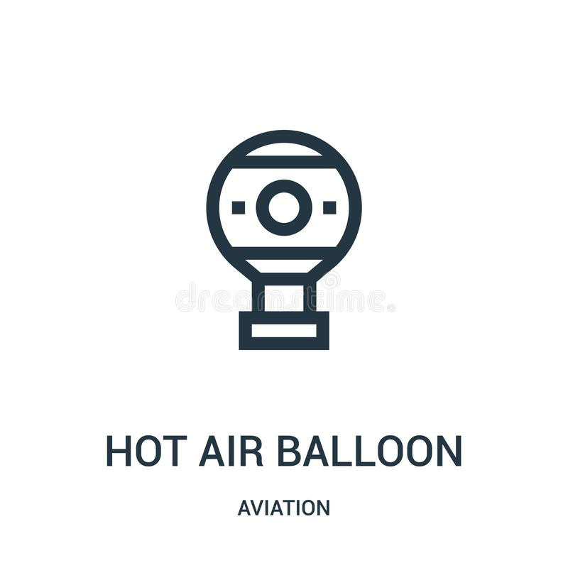 Hot air balloon icon vector from aviation collection. Thin line hot air balloon outline icon vector illustration. Linear symbol. For use on web and mobile apps royalty free illustration