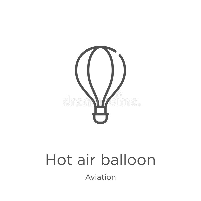 Hot air balloon icon vector from aviation collection. Thin line hot air balloon outline icon vector illustration. Outline, thin. Hot air balloon icon. Element of royalty free illustration