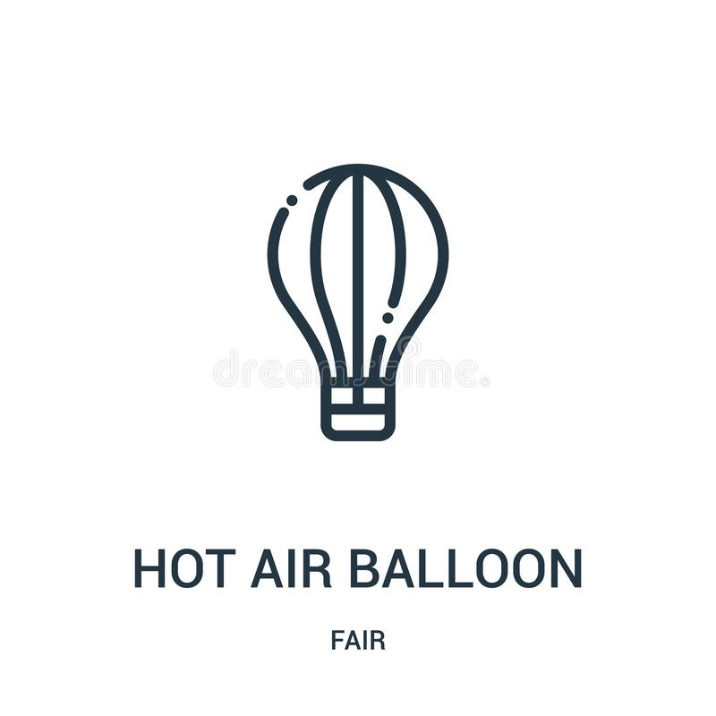 Hot air balloon icon vector from fair collection. Thin line hot air balloon outline icon vector illustration. Linear symbol for. Use on web and mobile apps royalty free illustration