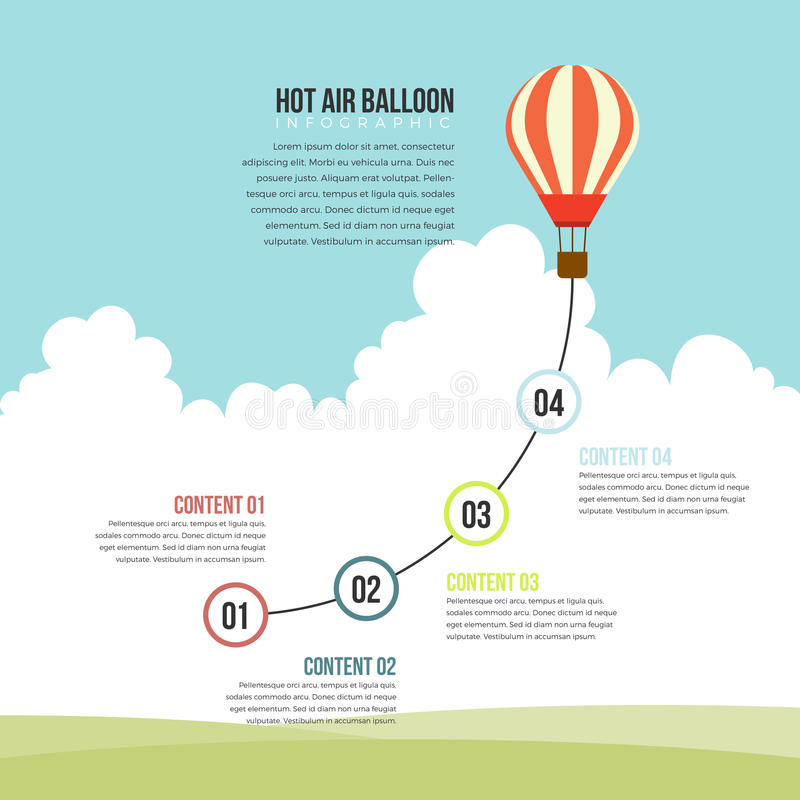 Hot Air Balloon Infographic. Vector illustration of hot air balloon infographic design element royalty free illustration