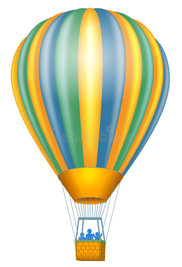 Hot air balloon. Isolated on white background stock illustration