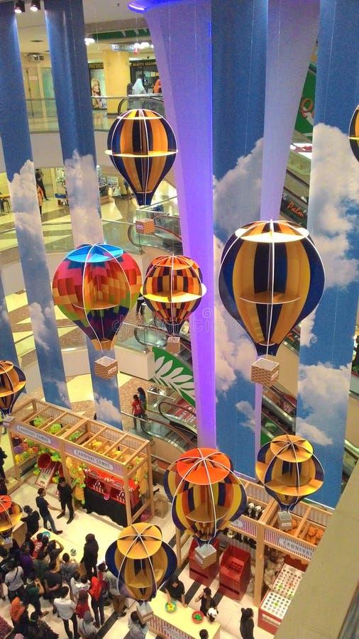 Hot air balloon at mall stock photography