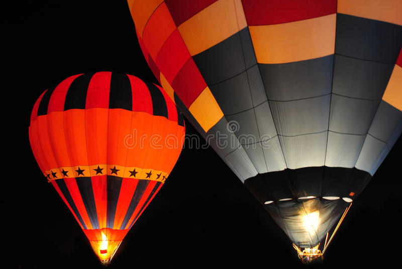 Download Hot air balloon at night. stock photo. Image of promotion - 22184612