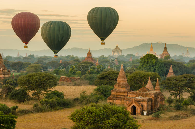 Hot Air Balloon over The Ancient Temples of Bagan(Pagan). stock image