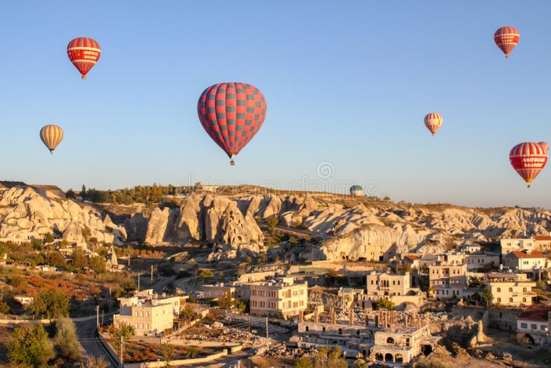 Hot air balloon over capadocia. Valley in Turkey stock images
